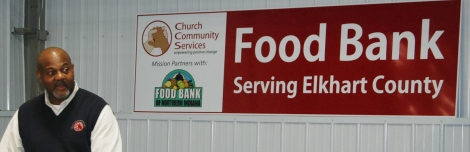 Rod Roberson and Food Bank sign