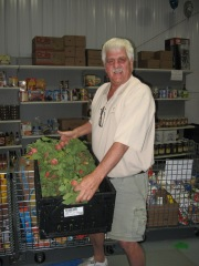 Burt Culver holding a crate of freshly harvested radishes